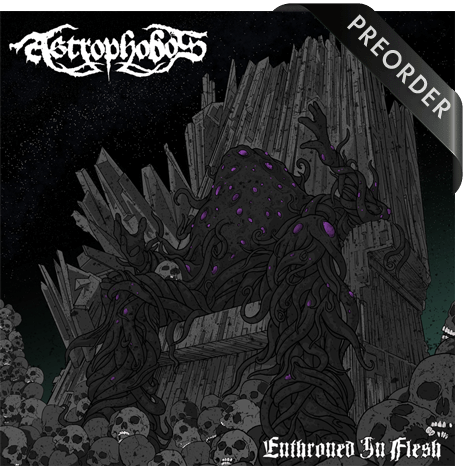 The cover of Astrophobos album 'Enthroned in Flesh